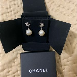 Chanel pearl and crystal drop earrings.